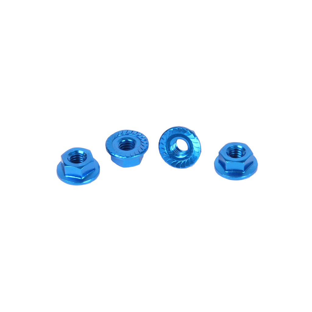 CORE RC - Serrated Alloy M4 Nuts; Blue  pk 4
